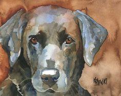 Labrador Retriever Art Print of Original Watercolor Painting - 8x10 Black Lab. $12.50, via Etsy.