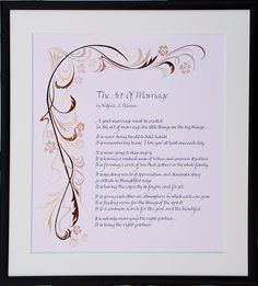 Calligraphy poem The Art Of Marriage art deco inspired illustration