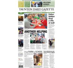 The front page of the Taunton Daily Gazette for Friday, Dec. 26, 2014.