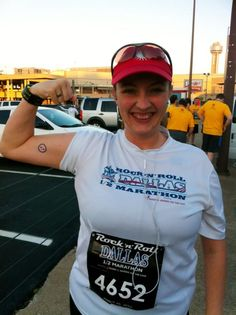 Shawna Simpson flexes her Twilio tattoo at the end of a long run. (Looks like the run was easy for her)