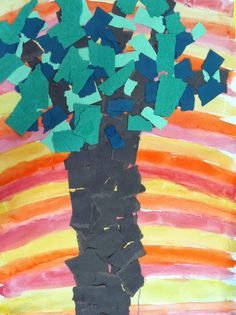 Wangari maathai -Trees of peace collage inspired by Kenyan environmentalist Wangari Maathai - using warm/cool colors, tints, and shades (kindergarten) School Age Activities, Art Activities, Kindergarten Activities, Preschool Crafts, Kids Crafts, Beautiful Feet Books, Tree Art, Tree Collage, Cultural Crafts