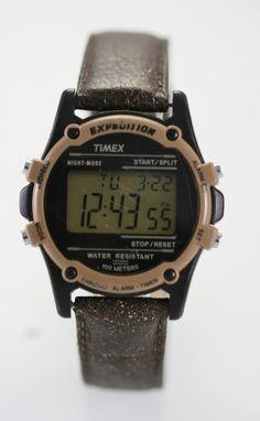 207157e10609 Timex Mens Expedition Black Plastic Brown Leather Light Alarm Date Quartz  Watch