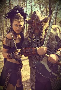 Warriors!! Warrior Queen Woman Valkyrie Knight Game of Thrones Dark Gothic Medieval Renaissance Faire Viking Costume Leather Work Gold Crown Crystal Long Hair Braids Sherwood Forest Dagger Sword Epic Fantasy Barbarian Invasion