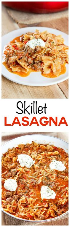Skillet Lasagna: Your favorite cheesy Italian comfort food transformed into an easy weeknight meal. Ready in one pot and less than 30 minutes (even the pasta cooks right in the skillet!).