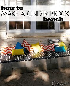 how to make a cinder block bench in less than 4 hours, concrete masonry, diy, how to, outdoor living, reupholster, woodworking projects