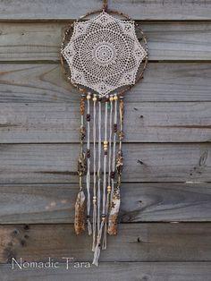 Brown Silk and Doily Dreamcatcher. $70,00, via Etsy.