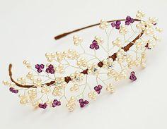 Bella Bridal Side Tiara Ivory Pearl Cluster by jewellerymadebyme