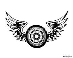 Вектор: wings and wheel chopper tattoo