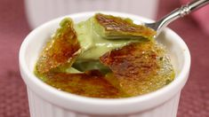 Matcha (green tea) crème brulee - 1 cup heavy cream, 1 cup egg nog, baking at 300 for 40 mins
