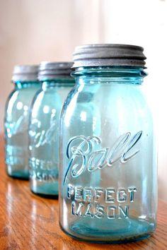Vintage Blue Ball Mason Jar - Zinc Lid