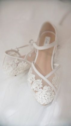 Wedding Shoes Transparent Flower White Lace Ankle Strap   Etsy