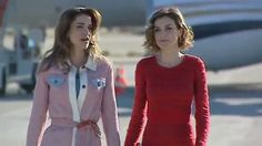 Spain's Queen Letizia and King Felipe welcome King Abdullah and Queen Rania to Madrid, Spain, for a royal visit.