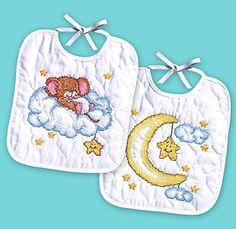 Janlynn Stamped #crossstitch  CRESCENT MOON Bibs #baby #DIY #needlecraft #giftideas