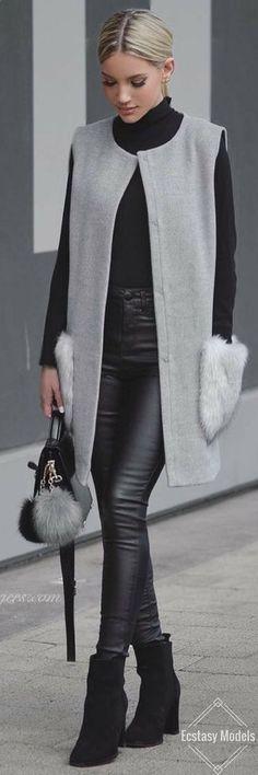 Pour lamour de gris... Quel beau look du jour ! La fourrure sera super importante en 2017 !