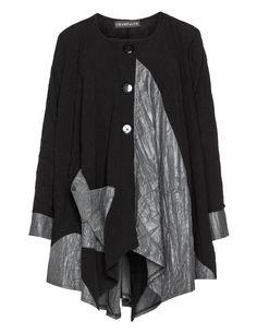 Champagne Bicolour-Jacke im Knitter-Look in Schwarz / Anthrazit