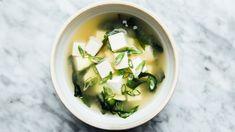 Classic Miso Soup Recipe | Bon Appétit Miso Noodle Soup, Miso Soup, Tofu, Japanese Dumplings, Edible Seaweed, Snacks Sains, Western Food, Bonito, Pret A Manger