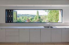 The Larch House - contemporary - Kitchen - South West - Millar Howard Workshop Kitchen Sink Window, Kitchen Sink Design, Home Decor Kitchen, Kitchen Interior, Kitchen Windows, Kitchen Designs, Kitchen Ideas, Boffi, Cuisines Design