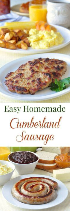 Cumberland Sausage Cumberland Sausage – mildly spiced with common herbs and spices, this traditional meaty British sausage has little filler, freezes well, and can be stuffed into sausage casings or formed into patties. Sausage Breakfast, Breakfast Recipes, Breakfast Ideas, Sausage Spices, Sausage Meals, How To Make Sausage, Sausage Making, Love Food, A Food