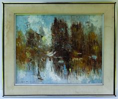 BARTOLI SIGNED ABSTRACT MODERNIST OIL ON CANVAS, W/ORIG. FRAME.