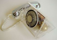 """Scarce American Space Age, """"La Belle"""" Clear Rotary Telephone by TeleConcepts 1972"""