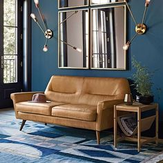Denmark Leather Sofa, Ox Blood at West Elm - Loveseats - Couches - Living Room Furniture Small Living Room Design, Small Living Rooms, My Living Room, Living Room Interior, Living Room Furniture, Living Room Designs, Home Furniture, Living Room Decor, Furniture Ideas