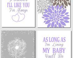 Coral Aqua Gray Baby Girl Nursery Kids Wall Art I'll by vtdesigns
