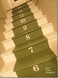 painted stair runner with numbers, Bees Knees