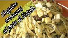 Linguine croccanti al pesto di bietola Linguine, Pesto, Chicken, Food, Meals, Yemek, Buffalo Chicken, Eten, Rooster