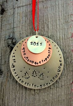 Our First Christmas Personalized Ornament by whiteliliedesigns, $28.00