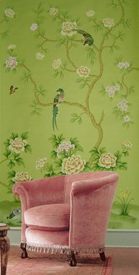 YES, YES, YES, YES!!  (Chinoiserie wallpaper, cozy vintage chair) -- I NEED GREEN PAINT IN THIS COLOR!!