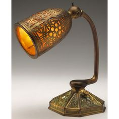 """Unusual Tiffany Studios lamp, bronze base and overlay shade in the Abalone pattern, excellent original patina, signed Tiffany Studios, New York, 4.5""""w x 9""""h"""