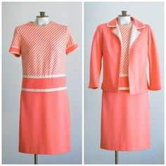 60s pink striped wool dress and suit jacket from Butte Knit by TimeTravelFashions on Etsy
