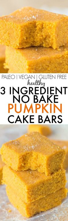 Healthy 3 Ingredient NO BAKE Pumpkin Cake Bars- Quick, easy and delicious cake bars LOADED with pumpkin flavor- Low fat and can be 100% sugar free! {vegan, gluten free, paleo recipe}- thebigmansworld.com
