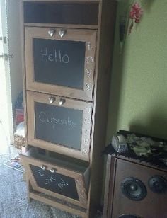 Grevbäck from Ikea. I wold paint the wood white and write on the chalkboard mail etc. and place it in my mudroom