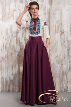 Ukraine, from Iryna. doesn't mean frumpy! Mexican Fashion, Mexican Outfit, Mexican Dresses, Modest Fashion, Hijab Fashion, Boho Fashion, Fashion Dresses, Fashion Design, Mode Outfits
