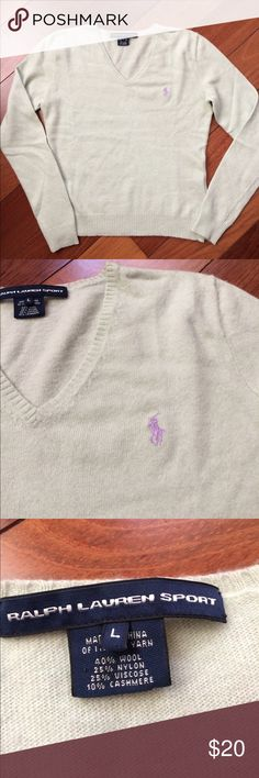 "Ralph Lauren Wool/Cashmere Blend Polo Sweater Excellent condition, soft wool, nylon, cashmere blend. Looks more green in real life. 17.5"" armpit to armpit, 15"" shoulder seam to shoulder seam, 21"" from shoulder to bottom. Label says large, but RUNS SMALL, more like small-medium. Ralph Lauren Sweaters V-Necks"