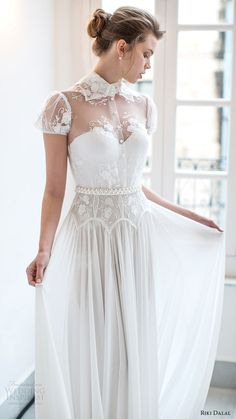 riki dalal bridal 2016 short puff sleeves sweetheart illusion collar shirt bodice a line wedding dress (1802) mv romantic slit skirt
