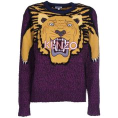 Tiger Intarsia Sweater ($524) ❤ liked on Polyvore featuring tops, sweaters, ribbed top, embroidered sweater, kenzo sweater, ribbed long sleeve top and wool blend sweater