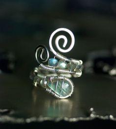 Labradorite Ring Nickel Free Argentium Silver Ring