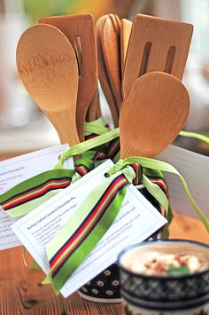 Guests usually ask for the recipe and the utensils are a nice touch. For a simple party favor, tie a recipe for the dish that you served around the wooden utensils.