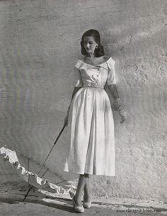 White Linen dress by Adele Simpson- 1948 Vintage Style Files-Fashion-Nostalgia-Retro Lifestyle Blog