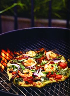 C.K.'s Grilled Gamberian Pizza   #pizza #recipe #shrimp #seafood #grill