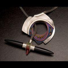 """Toggle Target"" neckpiece, sterling silver, black onyx bullets with Prismacolor."