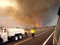 """This is a fire tornado that emerged from a brush fire on Sunday near Hawaii's Mauna Kea volcano. """"Fire-Tornado Pictures: Why They Form, How to Fight Them"""" Hawaii Fire, Firefighter Watches, Tornado Pictures, Fire Tornado, Strong Wind, Tornadoes, World View, Natural Phenomena, Big Island"""