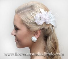 Bridal Headpiece White and pink flower comb by Flowerartstudio