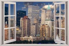 NYC-3D-wall-sticker-New-York-City-Window-Decal-Mural-wallpaper-Vinyl-USA-W17