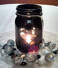 Black mason jar with open heart to expose the candle inside, heart pendant and gems/glitter accessories - Distinctive Creations