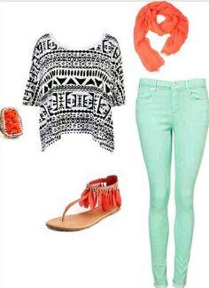 Tribal print outfit • Mint green pants• Sandals• Ring• Shirt ~Teenage Fashion~