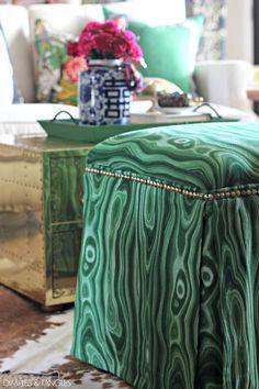 "DIY UPHOLSTERED OTTOMANS  ||  No sew upholstery  ||  Foot Stool Makeover  ||  Robert Allen ""Malakos"" Malachite Fabric"