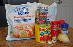 Ravioli crockpot recipe. 2 bags frozen 5 cheese ravioli, 1 can crushed tomatoes, 1 can tomato paste, garlic, thyme, basil, oregano, and diced onion.